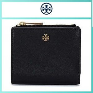Tory Burch Robinson Mini Wallet Black Leather